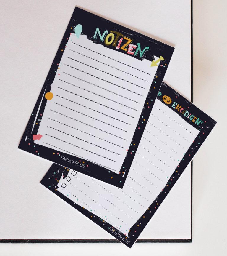 """Notizzettel """"Notizen"""" zum selbst ausdrucken im Dunkelbunt-Design"""