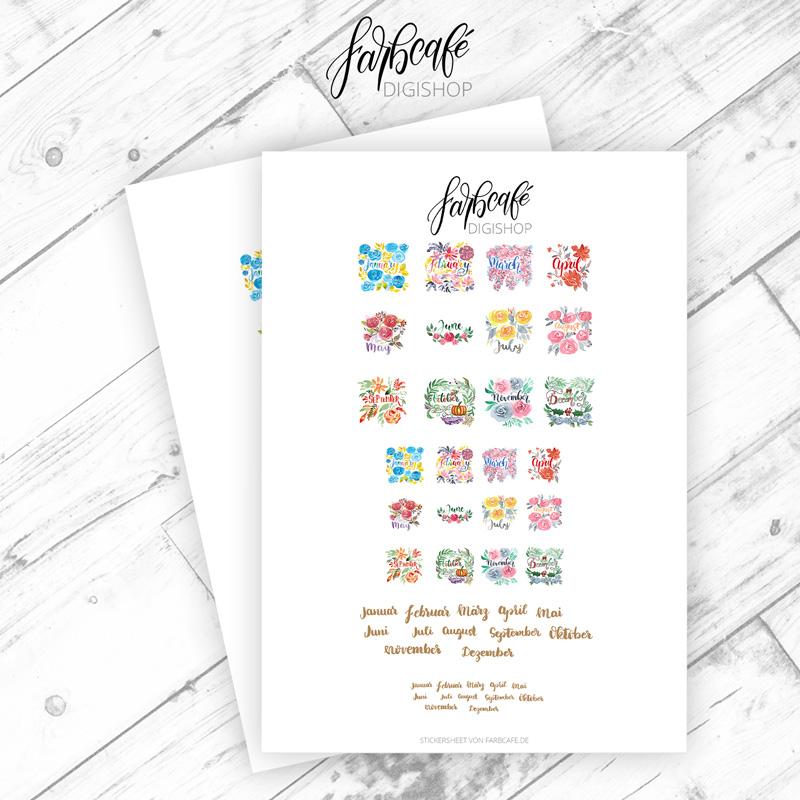 Kalendermonate Lettering Stickerbogen