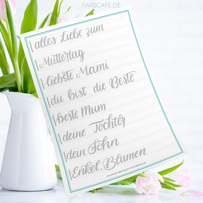 Brushlettering Vorlage Muttertag zum ausdrucken und #Handlettering üben