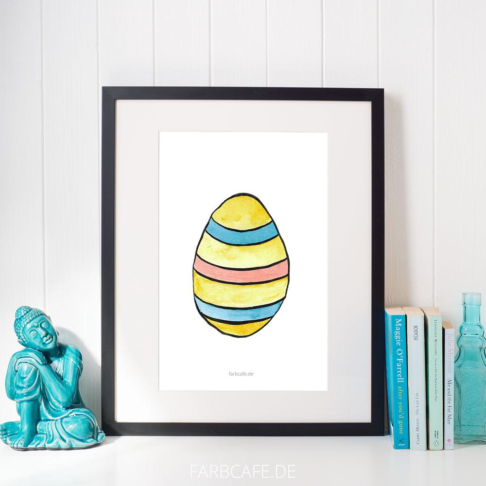 "Aquarell Illustration ""Buntes Ei"" Din A4 Printable für Kinderzimmer oder Küche"