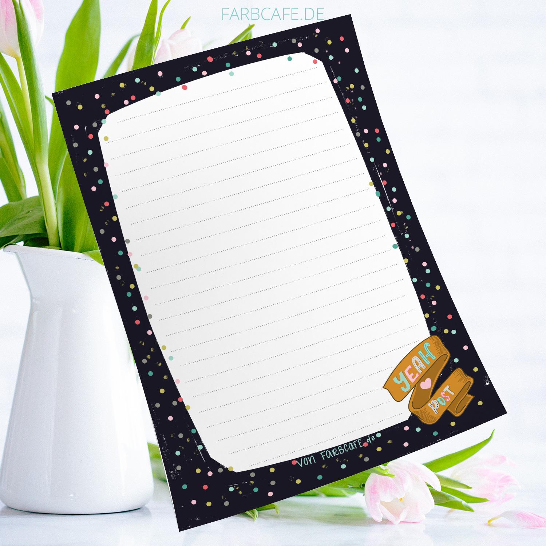 """Briefpapier """"YeahPost"""" aus der #Dunkelbuntkollektion von FarbCafé. Printable"""