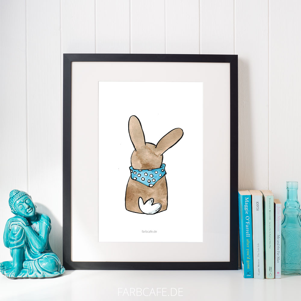 """Aquarell Illustration """"Hase"""" Din A4 Printable für Kinderzimmer oder Küche"""