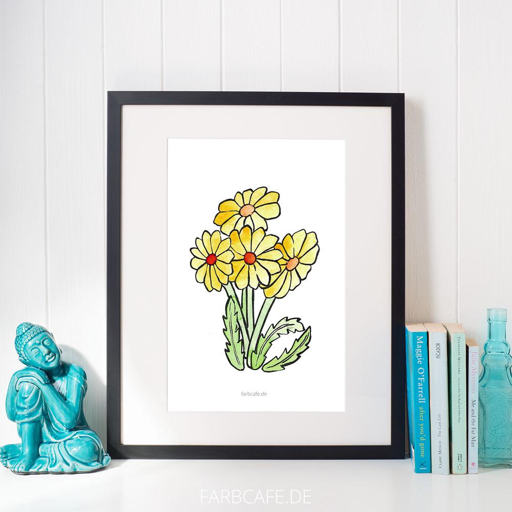 """Aquarell Illustration """"Löwenzahn"""" Din A4 Printable für Kinderzimmer oder Küche"""