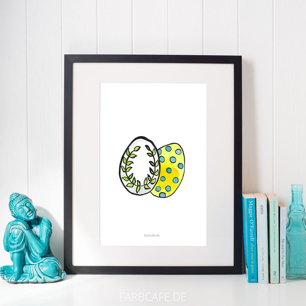 "Aquarell Illustration ""Bunte Eier"" Din A4 Printable für Kinderzimmer oder Küche"