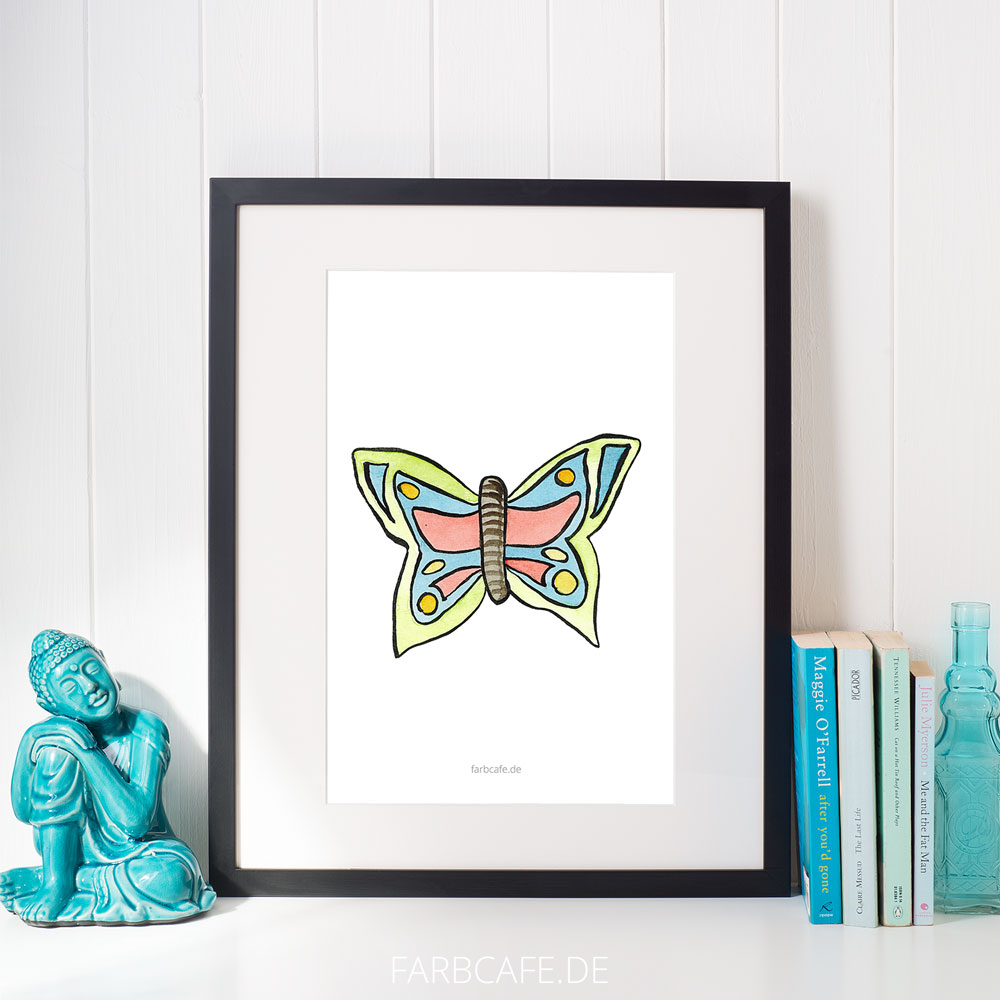 "Aquarell Illustration ""Schmetterling"" Din A4 Printable für Kinderzimmer oder Küche"