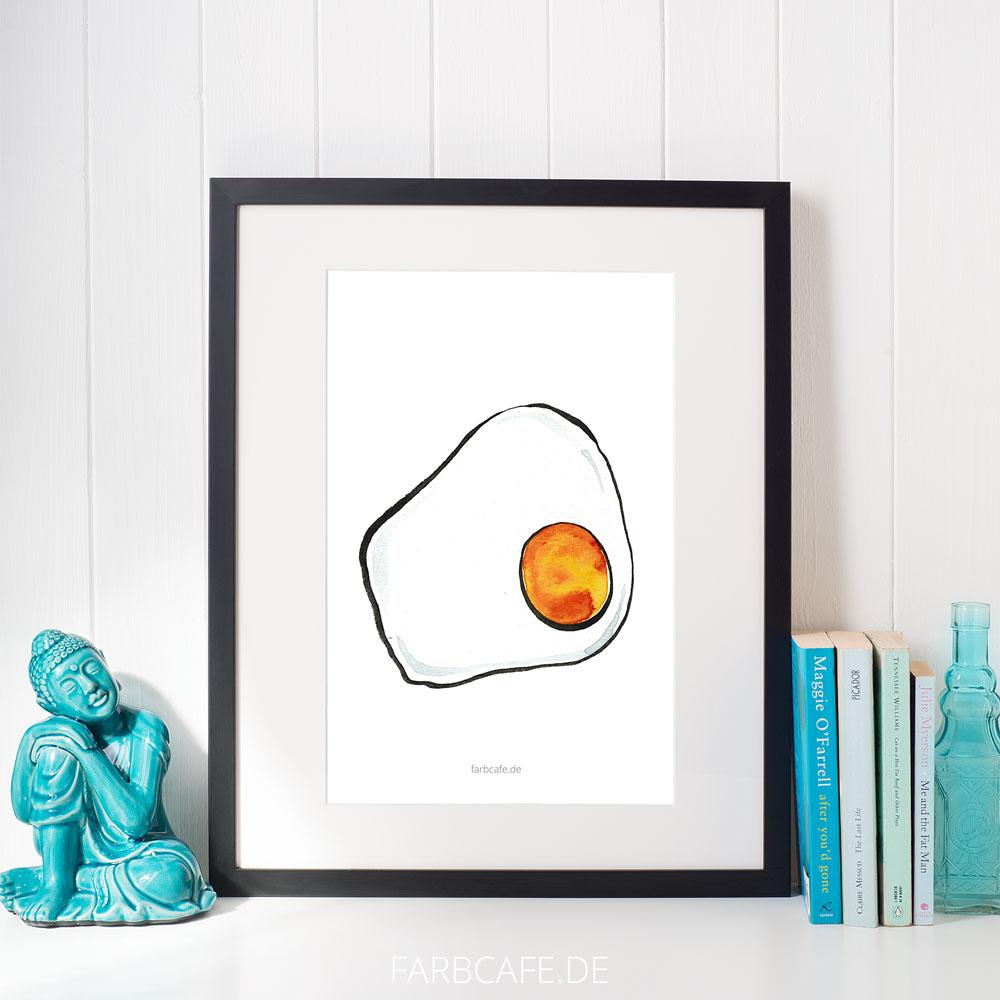 """Aquarell Illustration """"Spiegelei 1"""" Din A4 Printable für Kinderzimmer oder Küche"""