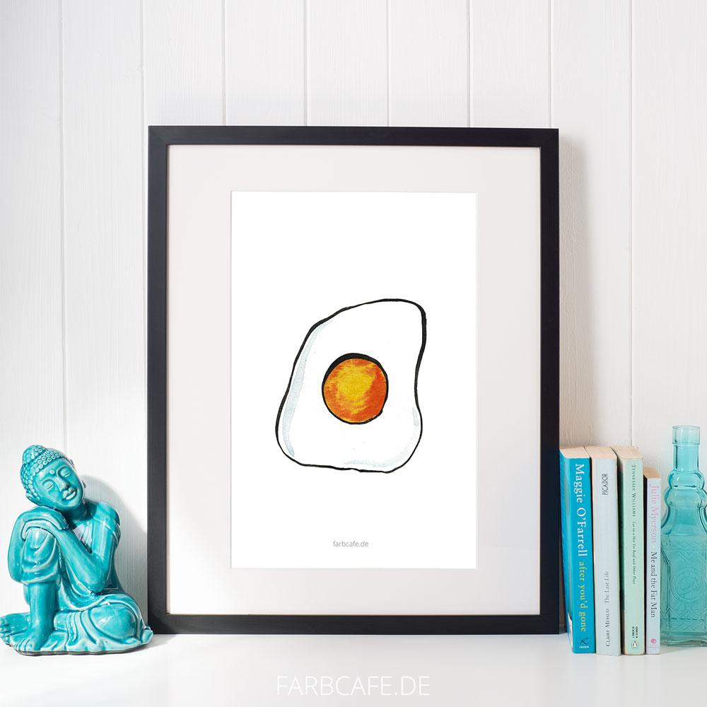 """Aquarell Illustration """"Spiegelei 2"""" Din A4 Printable für Kinderzimmer oder Küche"""