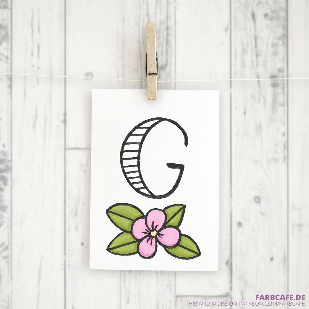 Monogramm G Druckvorlage