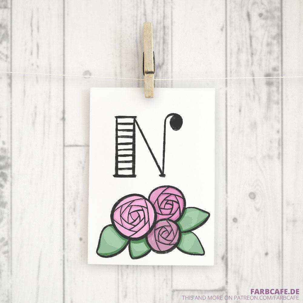 Monogramm N Druckvorlage