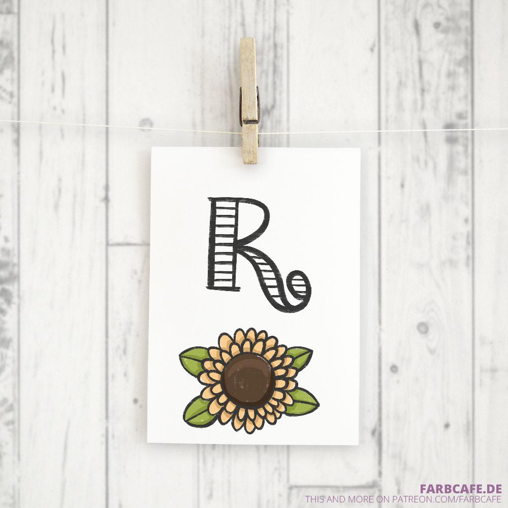 Monogramm R Druckvorlage