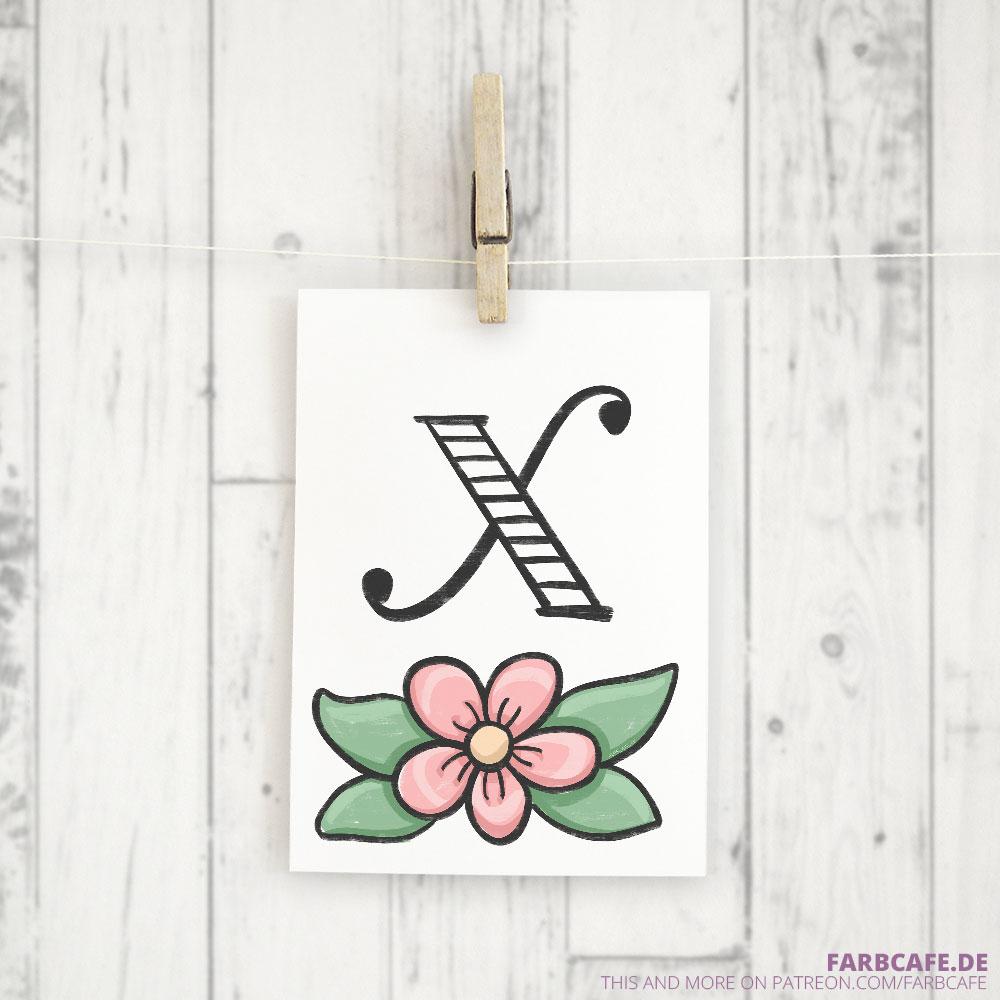 Monogramm X Druckvorlage
