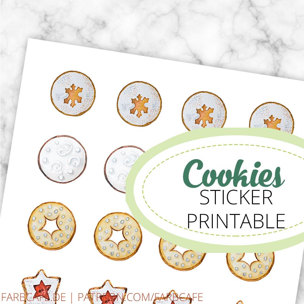 24 tolle kleine Sticker mit illustrierten Weihnachtskeksen. 6 verschiedene Motive