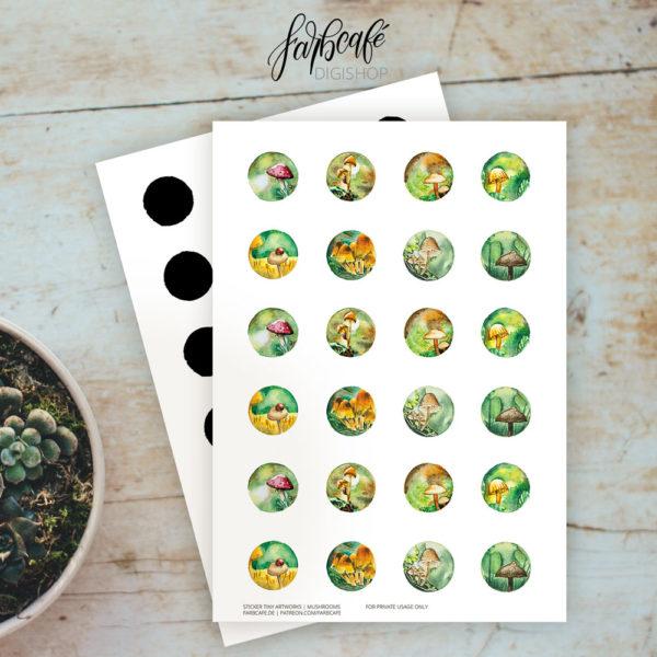 Runde Pilze-Sticker. Aquarell Illustration. Originalformat!